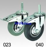 Grauer Gummischwenker mit Bremsen-Schraubverschluss- Fußrolle