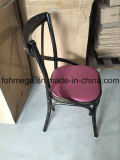 Metallo Cross Back Food Court Chair con Cushion (FOH-BC102)