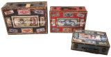 S/3 Antigüedades decoración diseño Vintage cowboy americano la impresión de cuero de PU/cuadro de la maleta de almacenamiento de madera MDF