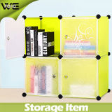Foho- DIY تخزين بلاستيكية مكعب مع الأبواب، مكعب من 4، زهرة الأسود اللون (FH-AL0016-4)
