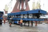 3axel vlakke bedaanhangwagen, 40FT de Aanhangwagen van de Container, flatbed aanhangwagen