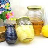 De Kruik van het Glas van de honing voor het Voedsel van het Domein, Honing, Jam, Groenten in het zuur