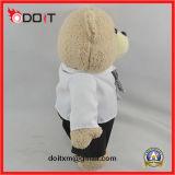Teddybeer van de Band van het Overhemd van de Gift van het Embleem van de douane de Promotie Witte