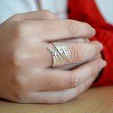 個人化された銀または金カラー葉の覆いのリングの簡単で調節可能なリング
