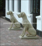 Песчаник Dog Sculpture для Home Decoration