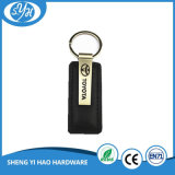 O melhor couro do preto da qualidade faz seu próprio logotipo Keychain do carro