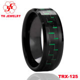 까만 텅스텐 반지 상감세공 탄소 섬유. 높은 Polished Tungsten Ring 8mm