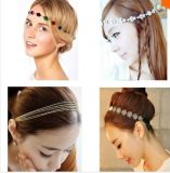 Women를 위한 2015 최신 Sale Bohemian Forehead Jewelry Headbands Rhinestone&Pearl&Flower&Metal&Alloy&Beaded Hair Combs Headband Hair Necklace Vintage Jewelry
