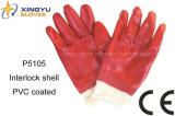 Guanto del lavoro di sicurezza ricoperto PVC del dispositivo di blocco del cotone (P5105)