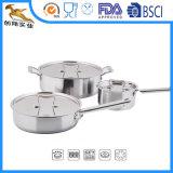 6人のPCSのシェフの古典的なステンレス鋼の調理器具(CX-SL0601)