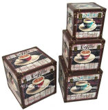 S/4装飾の骨董品型のコーヒーデザイン正方形の印刷PU Leather/MDFの木の記憶のトランクボックス