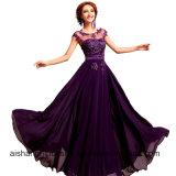 O Chiffon peroliza as mulheres Sleeveless A longo elegante do bordado - linha vestidos da dama de honra