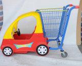 1개의 금속 바구니를 가진 슈퍼마켓을%s 아기 쇼핑 카트 트롤리