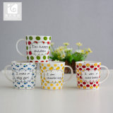 Taza de té original modificada para requisitos particulares de la porcelana de la insignia 14oz China
