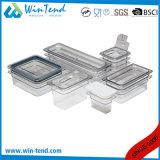 Venta caliente certificado sin BPA de plástico transparente de cocina Restaurante TAMAÑO BANDEJA Gastronorm 1/6