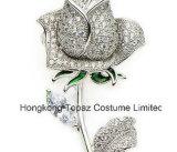 宴会のブローチピン(EB01)と結婚する銅の水晶ローズのブローチの女性のラインストーンのエナメルの花
