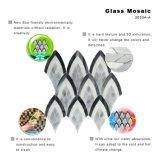 Mosaico de vidrio el patrón de hojas de color negro y gris para el cuarto de baño de arte