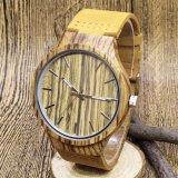 Homens de madeira por atacado baratos dos relógios Pocket de correia de couro