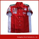 El algodón azul cortó y cose la venta al por mayor de la manera que competía con las camisas para las personas F1 (S54)