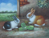 Home Furniture를 위한 Canvas에 Handmade Animal Oil Paintings Two Rabbits