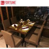 Cabedal castanho amarelado Cadeira de jantar restaurante mobiliário de jantar