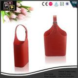 Sostenedor de cuero rojo del vino de Fuax
