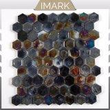 Mosaico di vetro di esagono nero di miscela per le mattonelle di Backsplash della cucina