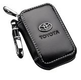 Черный кожаный чехол премиум цепочки ключей автомобиля для мелких предметов на молнию дистанционное Wallet сумка