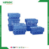 Stapelbarer logistischer Behälter-Umsatz-Plastikkasten mit eingehängter Kappe