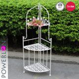 折る白い錬鉄の花の棚4層のコーナーの棚(PL08-4906)