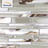 Роскошная ванная комната алюминиевых линейных глянцевый бежевый стеклянной мозаики настенные плитки