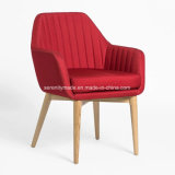 Wooden Frameの居間RedおよびBeige Fabric Upholstered Lounge Chair