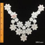 merletto lavorato a maglia floreale della guarnizione del ricamo del tessuto del vestito dal collare del testo fisso del merletto di 37*34cm Superdry con il campione pieno della presa di fabbrica del reticolo di fiore bianco Hml8633 disponibile