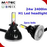 Phare de voiture à LED H1 H3 H7 H11 H4 880 881 9006 9005 COB Projecteur à LED, 24W 2400lm H1 Projecteur à LED