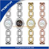 Vorwahlknopf-Edelstahl-Form-Kleid-Uhr der Dame-M.O.P mit der unterschiedlichen Farbe auserwählt