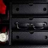 Caja de presentación de la fibra del carbón de la joyería de la colección de las lentes del reloj del cuero de la PU