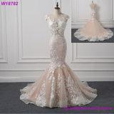인어 Champagne와 상아빛 결혼 예복 신부 드레스