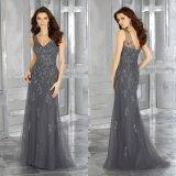 V-Шея вышивки отбортовывая платье вечера Mermaid повелительниц мантии женщин серое