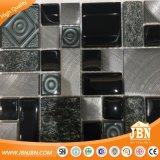 Mosaico di vetro di formato del nero di colore della stanza da bagno della parete delle mattonelle casuali della decorazione (M855332)