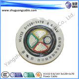 VV22t 3+1 ядер ПВХ изоляцией и пламенно стальной ленты бронированные концентрические проводниковый кабель питания