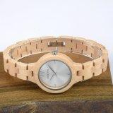 형식 손목 시계 나무로 되는 시계 여자 크기 석영 시계