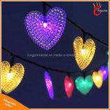 Lumière actionnée solaire en forme de coeur de la chaîne de caractères 50LED pour le mariage de Noël