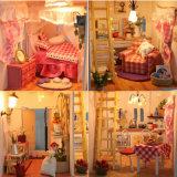 Casa de muñecas de madera hechos a mano con la educación para niños