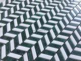 シェブロンパターン緑の組合せの白い大理石のモザイク・タイル