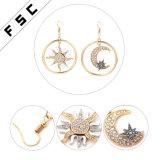 Cristal plaqué boucles d'oreille perlées de Sun d'or du bijou des femmes et de lune
