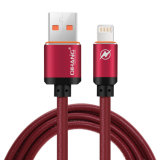 cable rápido del USB del relámpago del enchufe de cuero del metal 2.4A y cable de la sinc. de los datos para el iPhone