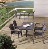 屋外の庭のテラスのホームホテルのレストランの藤のSiriのダイニングテーブルおよび椅子(J374)