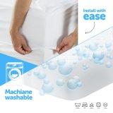 Protector libre del colchón del Anti-Polvo del telar jacquar del poliester del alergénico impermeable del ácaro con la cremallera plástica