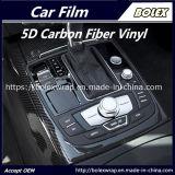 involucro lucido dell'automobile del nero del vinile del vinile della fibra del carbonio 5D