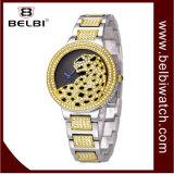 Senhora luxuosa relógio da liga do vestido do relógio de pulso das mulheres do diamante do leopardo de Belbi